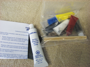 The No-Run Paste and the contents of the Match'n' Patch Kit.
